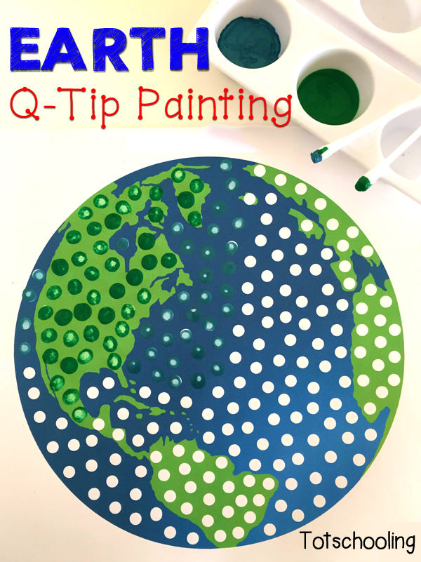 Earth Q-Tip Painting Free Printable | Totschooling - Toddler ...