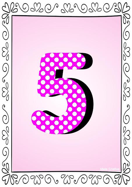 Numerais de Poá colorido com bordas 5