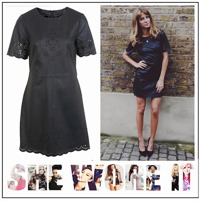 Black, Floral Laser Cut Out Pattern, Leather, Millie Mackintosh, Mini Dress, Miss Selfridge, Scalloped Hem, Shift Dress, Short Sleeves,