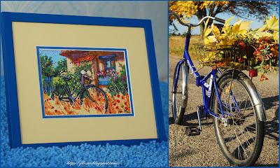 Bicycle Afternoon, Велосипед в полдень, Dimensions, Дименшинс, вышивка велосипед, синий велосипед, вышивка желтая трава, вышивка велосипед и шляпка, вышивка сине-желтая