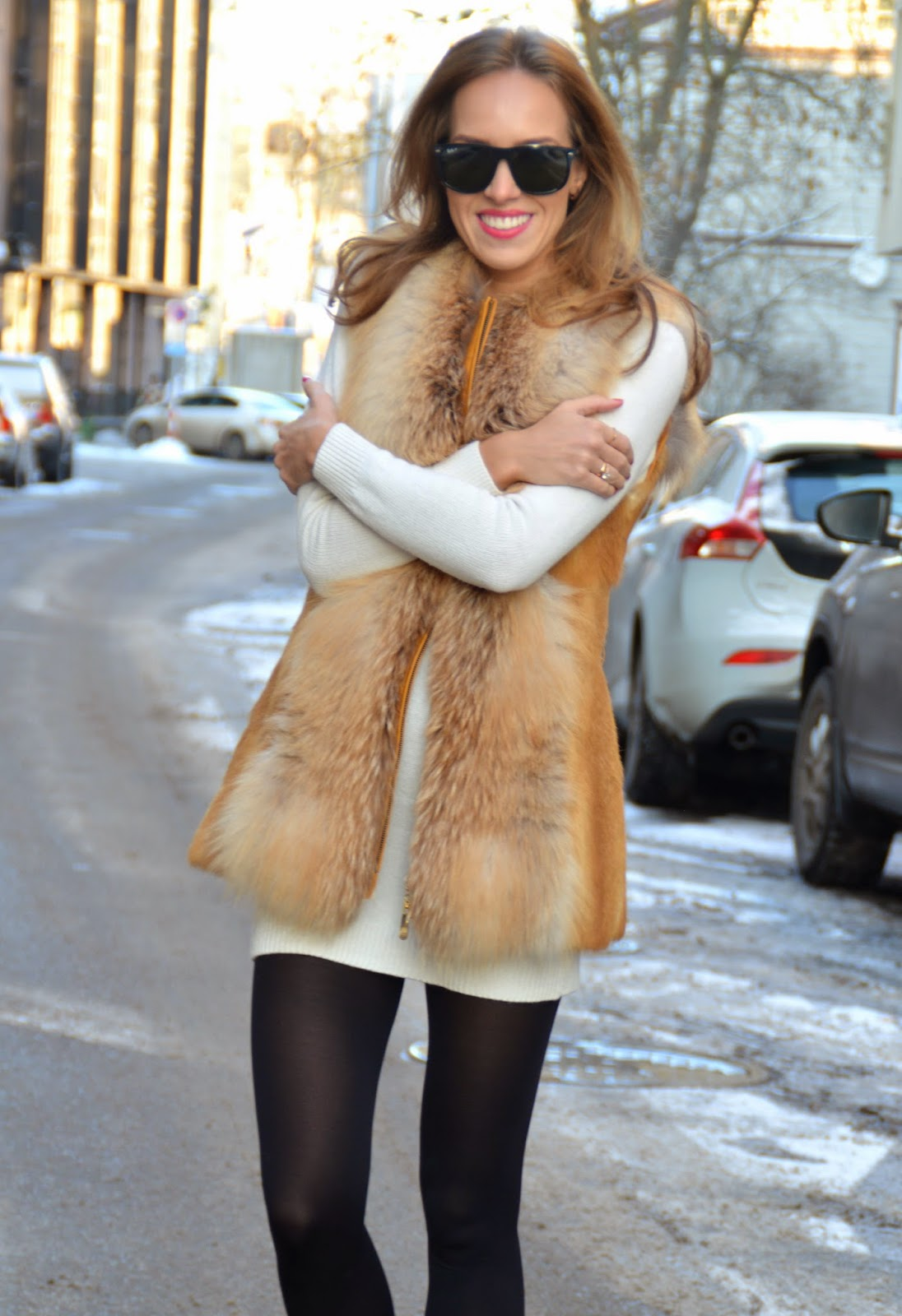 ray-ban-sunglasses-fur-vest-white-knit