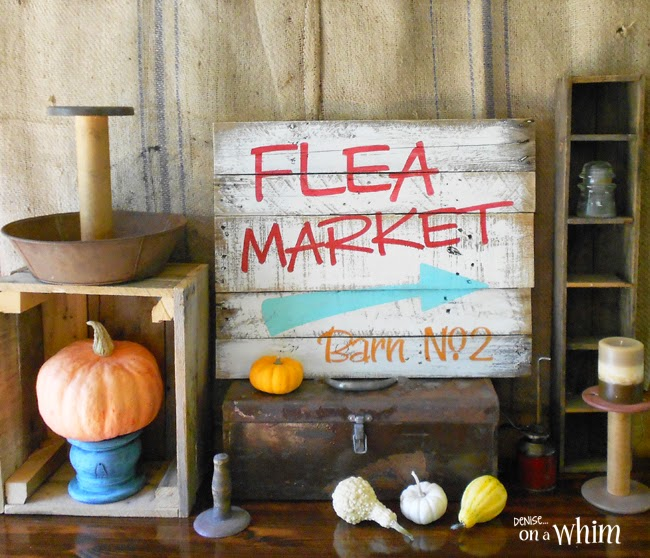Bright and Cheery Retro Flea Market Pallet Sign from Denise on a Whim