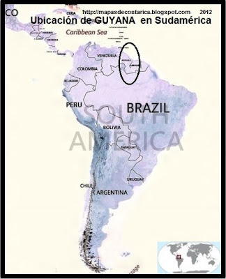 Ubicación de GUYANA en Sudamérica, vista aérea, BING