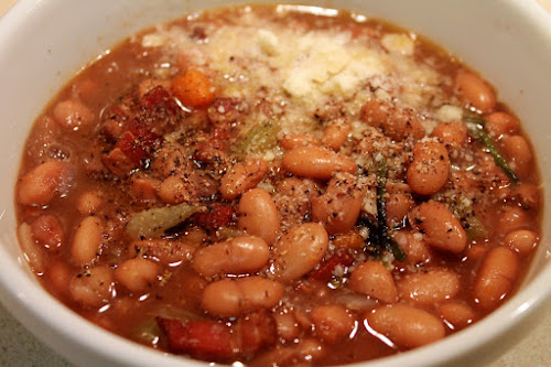 Smoky Pinto Bean, Red Wine and Bacon Soup