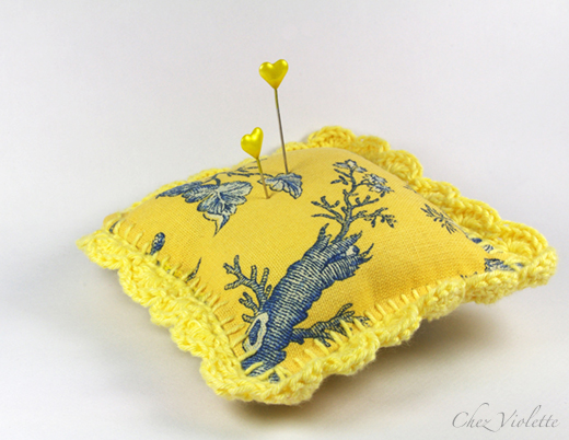 French toile Pincushion by Chez Violette