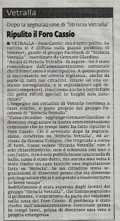 """IL NUOVO CORRIERE VITERBESE DEL 14.01.2012 DOPO LA SEGNALAZIONE DI """"STRISCIA VETRALLA"""""""