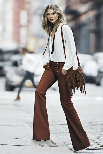 Express.70's.Flare.Pants.in.Rust and fringe bag