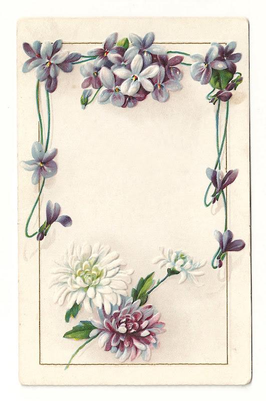 Flower Frame: Vintage Flower Border Design with Forget-Me-Not Flowers title=