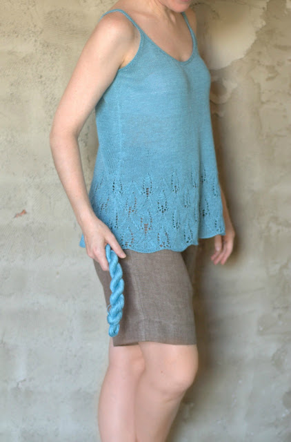 Ignatia Knits and her hand knitted Azalea tank by Pam Allen
