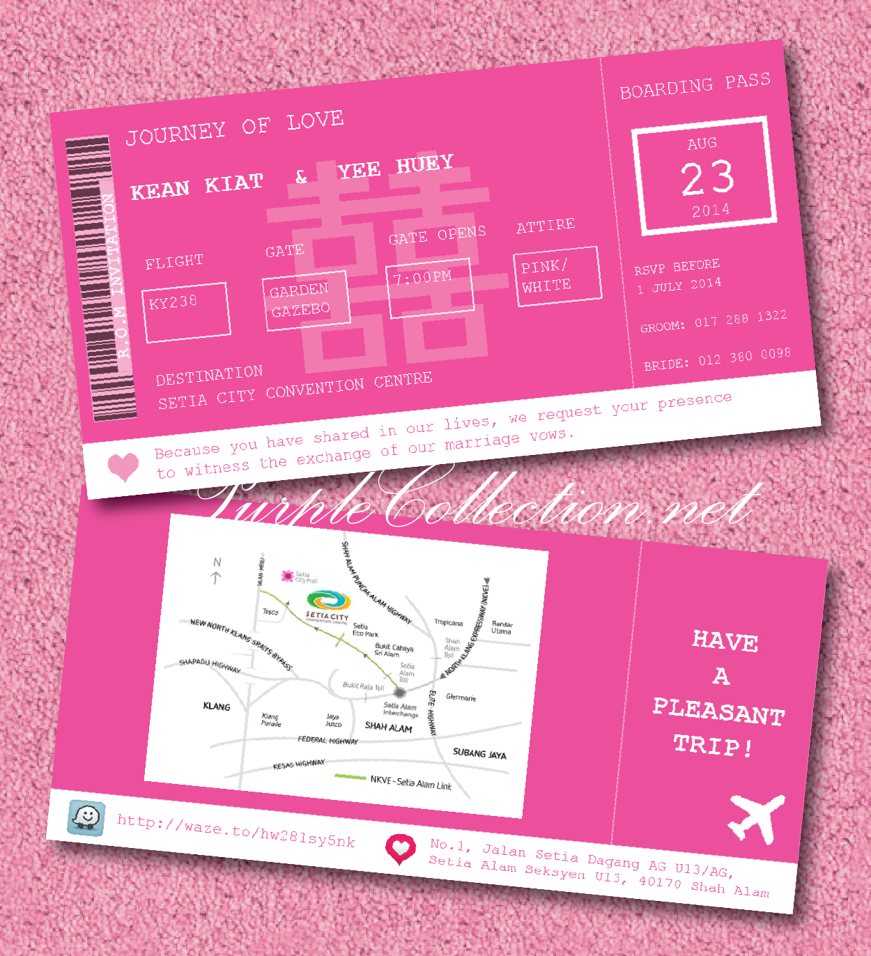 magenta, pink, red, boarding pass, wedding card, invitation, invites, chinese, indian, malay, kad kahwin, murah, cetak, printing, art card 260g, travel, passport, modern, unique, special, custom design, handmade, hand crafted, map, aeroplane, waze cartoon, setia city convention centre, shah alam, klang, selangor, kuala lumpur, KL, JB, johor bahru, Singapore, cheap, online, purchase, buy, sell, portfolio, catalogue, katalog, jual beli, malaysia, australia, envelope, sampul, 2014