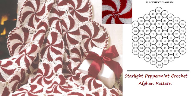 Crochet a Starlight Peppermint Motif afghan pattern