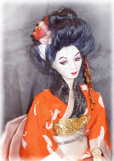 porcelain ball jointed porcelain geisha doll