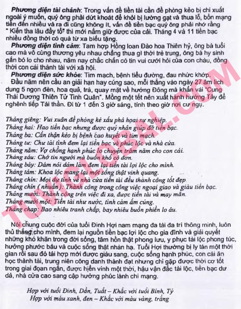 Xem tử vi tuổi Đinh Hợi nam mạng năm 2014 Giáp Ngọ