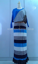 NBB0044 STRIPY BLOUSE SKIRT COME WITH BELT