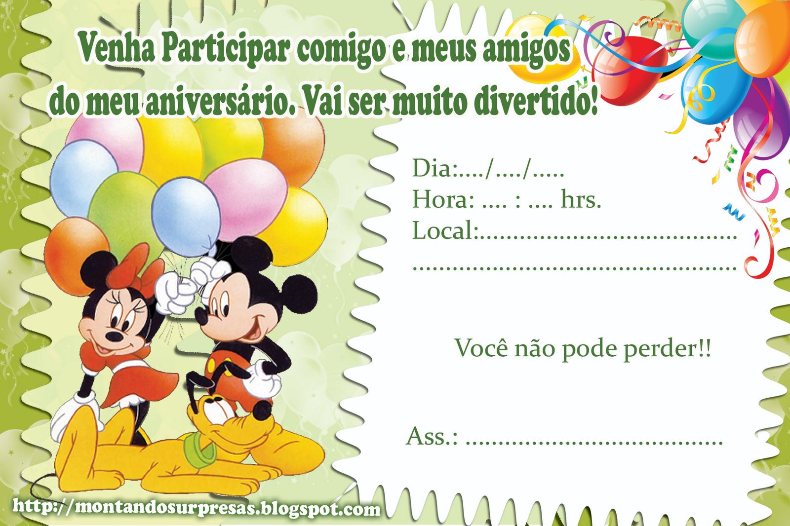 Convite De Anivers  Rio Gratuito   Michey Mouse