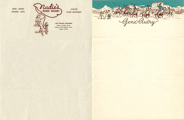 Nudie's Gene Autry letterhead
