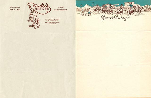 Nudie's Gene Autry letterhead