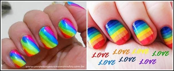 unhas coloridas arco iris