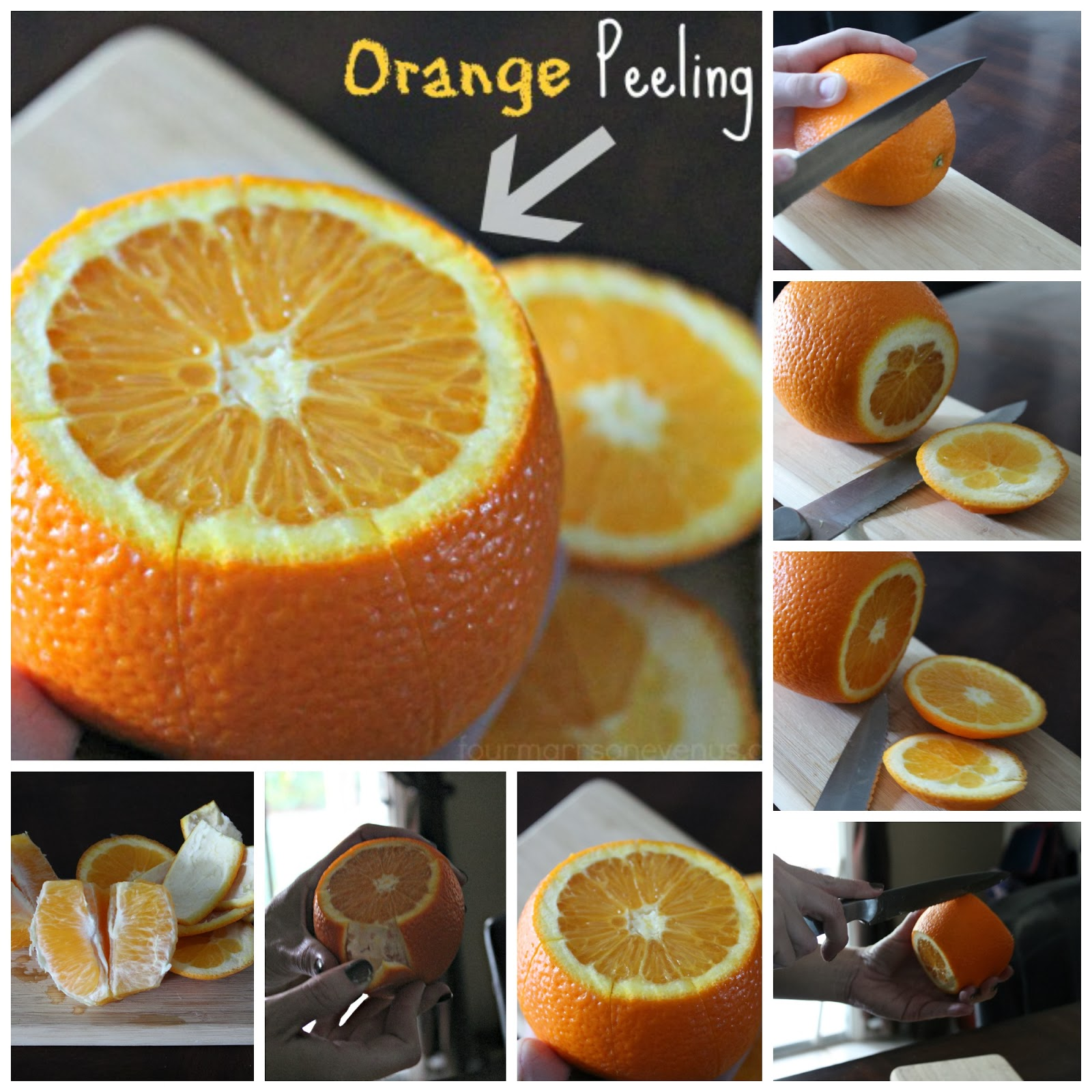 Steps on how to peel an orange