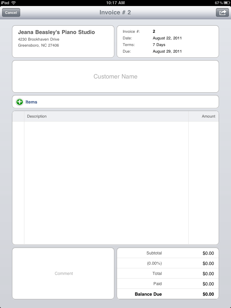 sing a new song: invoice app, Invoice examples