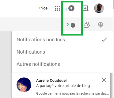 Les 2 types de notifications Google+