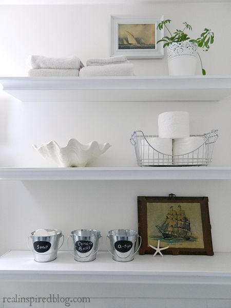 Original The Shelves Could Use A Little Styling And We Should Declutter It A Bit  A Couple Snapshots Of Our Guest Bathroom That Shower Curtain Is A Recent Find From