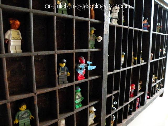 Lego mini-figure storage in a vintage printer's tray