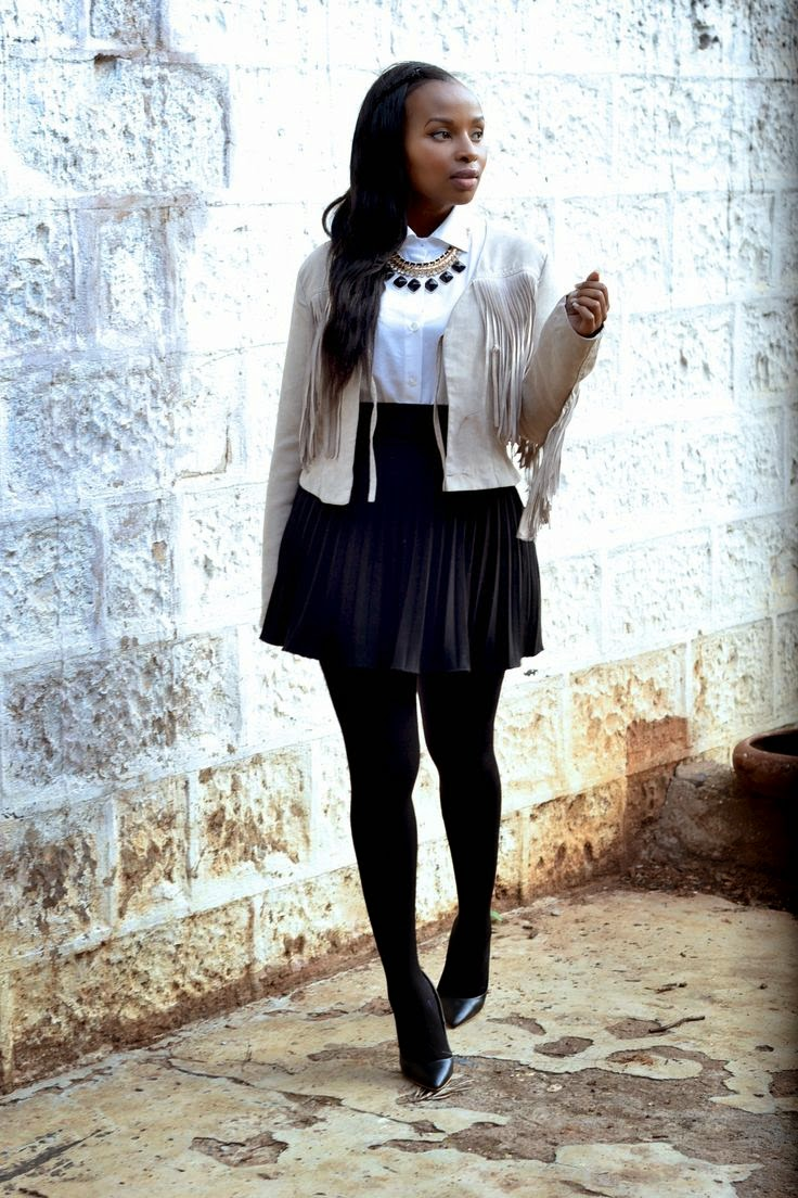 fringe trend, jacket, monochrome
