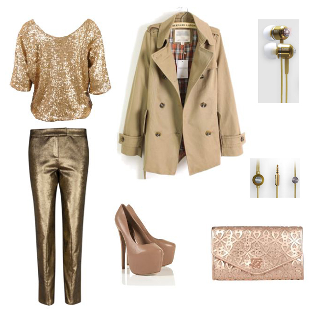 Gold BassBuds with gold party outfit compilation, Trentch coat, gold top, gold pants, nude pumps, gold envelope clutch, Gold BassBuds, Earbuds, audio equipment, Audio and fashion, polyvore