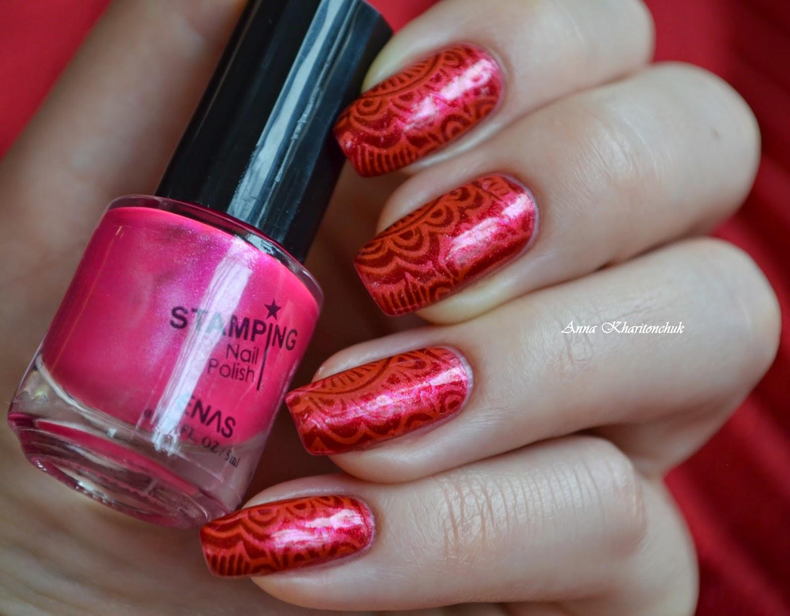 Sally Hansen Complete Salon Manicure # 707 Scarlet Letter, лак для стемпинга Enas и плитка BP-31