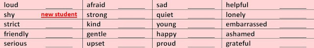 Table of Adjectives