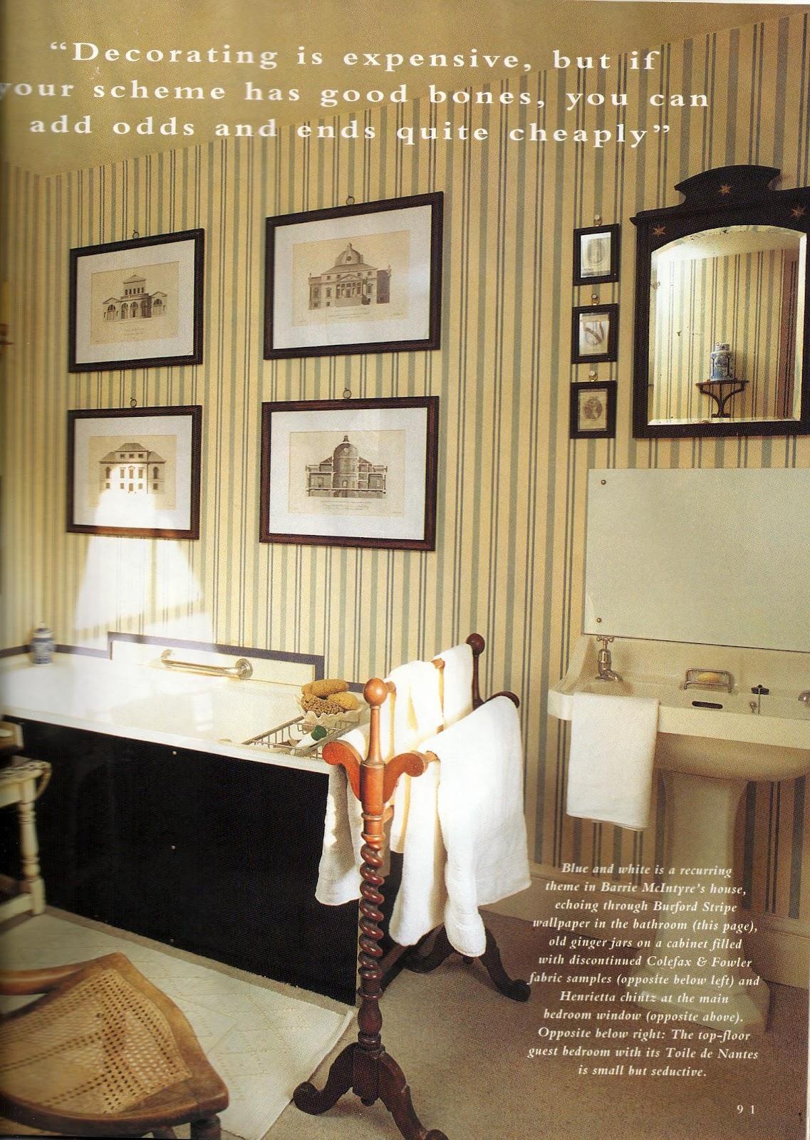 burford stripe wallpaper in bathroom