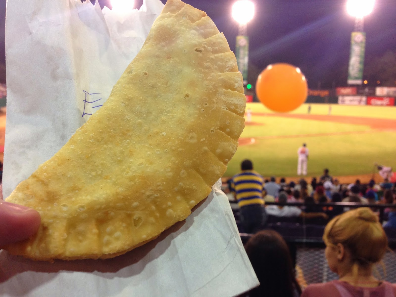 Empanadas at a baseball game