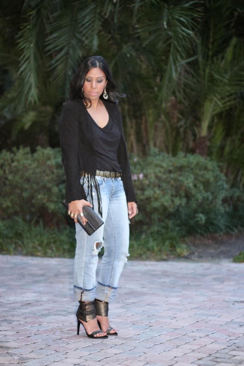 black fringe jacket distressed boyfriend jeans tibi riley shoes gucci bamboo clutch