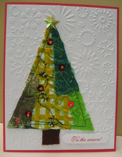 ART Just Do It Fabric Collage Christmas Cards