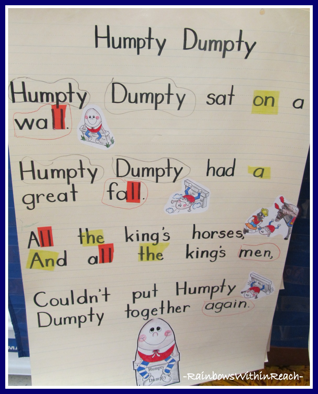 Anchor Charts in Kindergarten http://rainbowswithinreach.blogspot.com/2012/07/humpty-dumpty-nursery-rhyme.html
