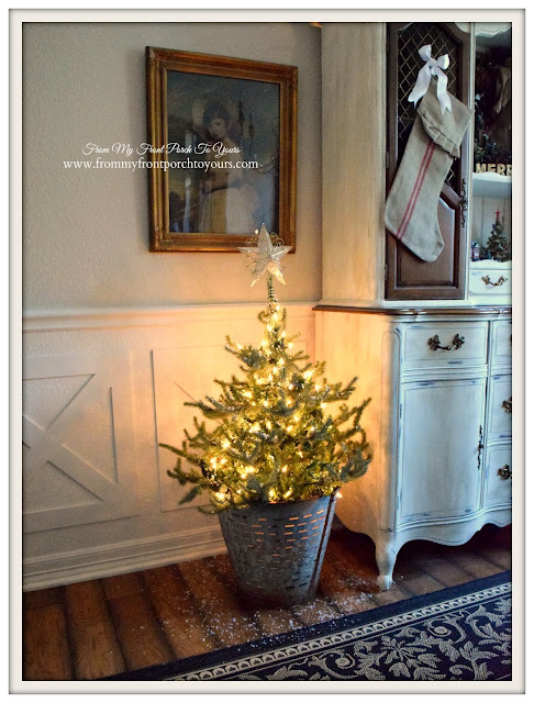 Farmhouse Christmas Dining Room-Christmas Tree- Olive Bucket- From My Front Porch To Yours