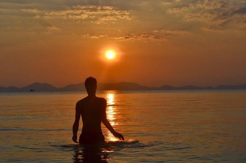 Krabi, Thailande, Pine bungalow, plage, couché de soleil, sunset