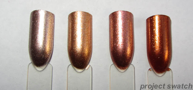 Sinful Colors Super Nova, Revlon Copper Penny, Wet n Wild Chrome Penny For Your Thoughts, China Glaze Harvest Moon swatches