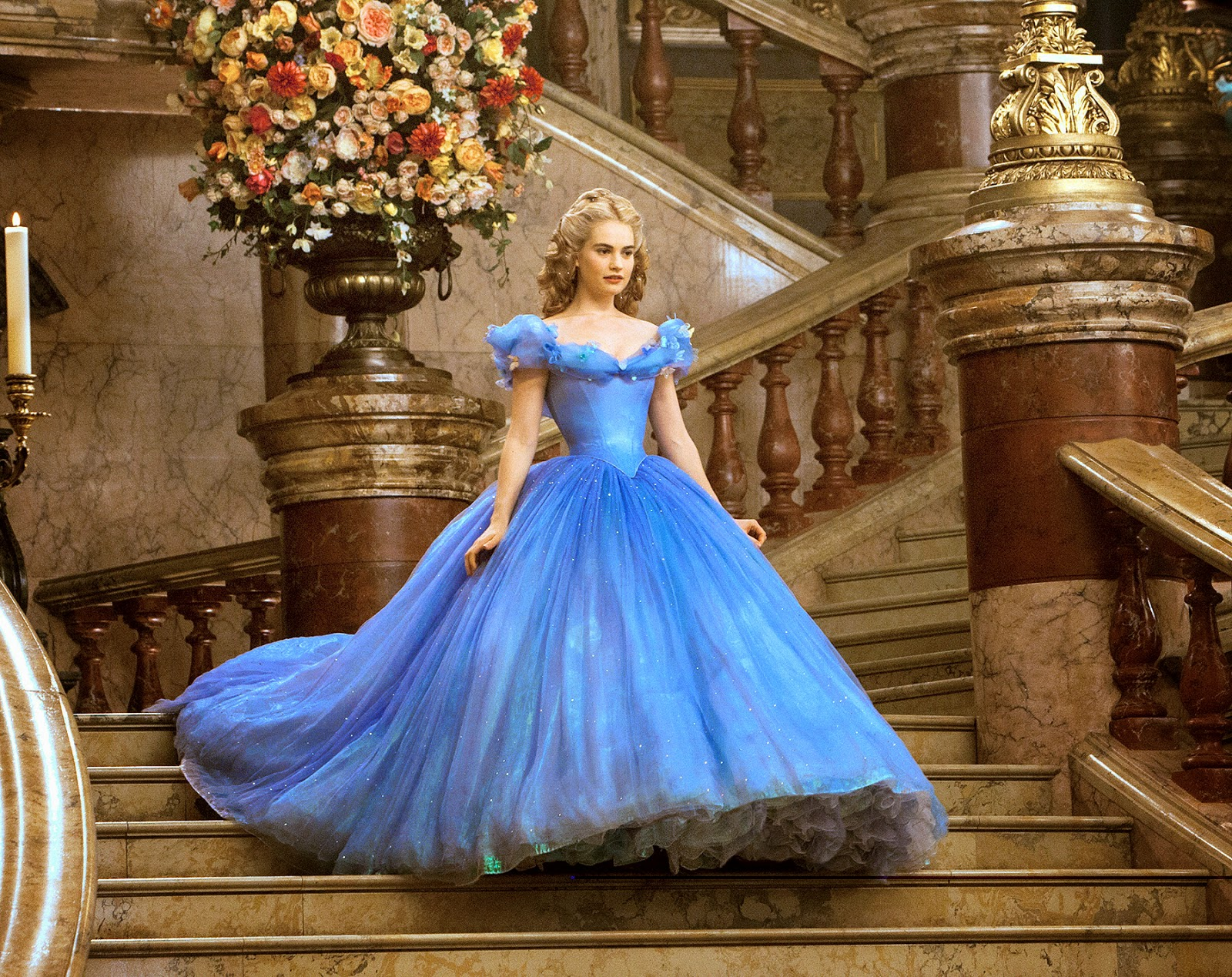 Image of Lily James as Cinderella in Blue Ballgown