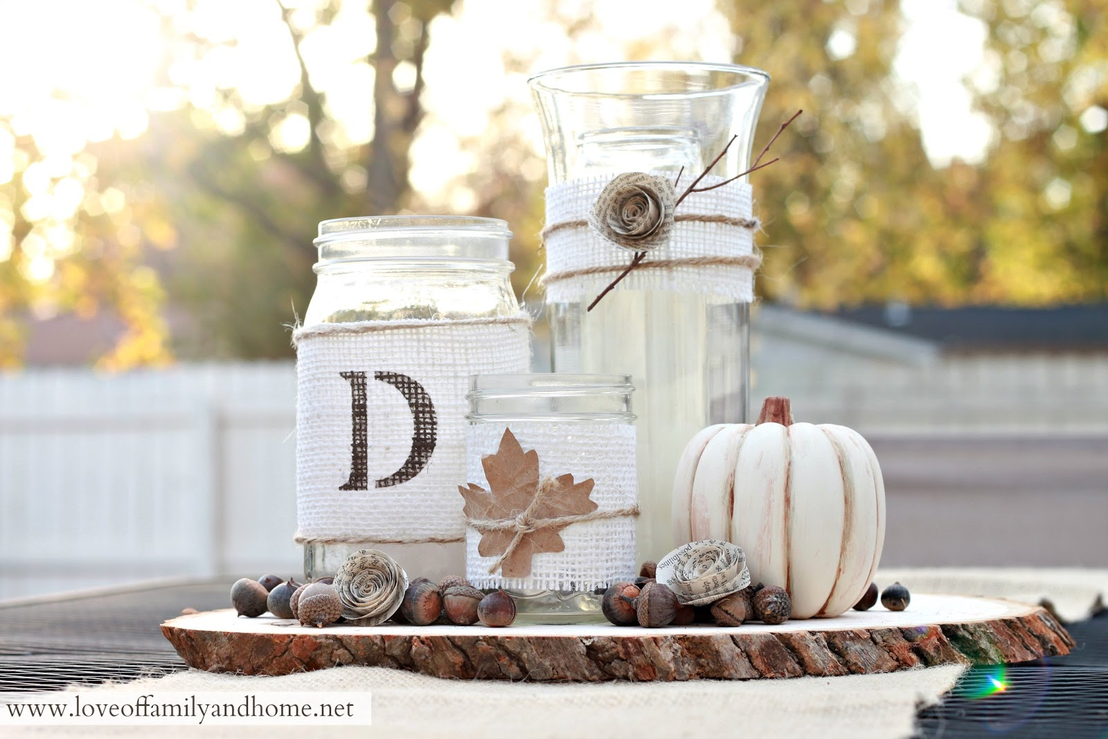 Rustic fall centerpiece tutorial love of family home for Table centerpiece ideas for home