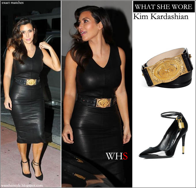 What She Wore Kim Kardashian In Black Leather Dress With Gold
