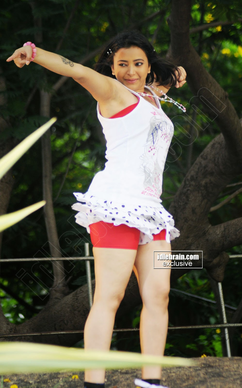 Swetha Basu tight red shorts