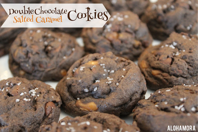 Double Chocolate Salted Caramel Super Soft Cookies.  Course salt, Caramel Bits, and lots of soft chocolate goodness in a super soft cookies makes this one delicious cookie.  It'lll rival aka better than a copycat, similar cookie at a popular bakery/coffee shop.  These cookies are amazing!  Alohamora Open a Book http://www.alohamoraopenabook.blogspot.com/ Easy, delicious, tasty, chocolate, Starbucks