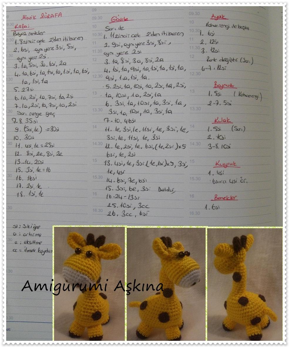 Amigurumi Zurafa Yapilisi Anlatimli : Amigurumi orgu oyuncak sevimli zurafa yapilisi Tiny Mini ...
