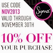 -10% coupon code at Sigma Brushes!!!