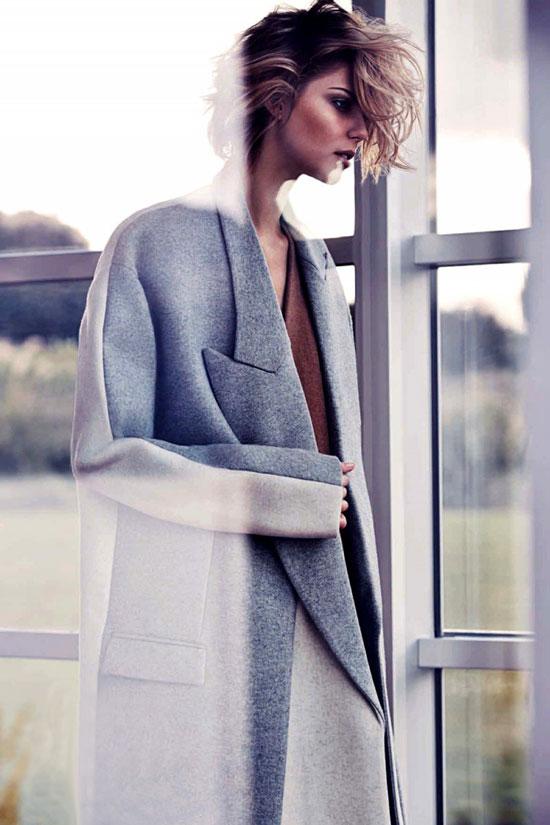 via fashionedbylove | fashion editorials | grey coats | Lydia Willemina Collins in Harper's Bazaar Australia September 2013 (photography: Simon Upton, styling: Tamara McQuillan)
