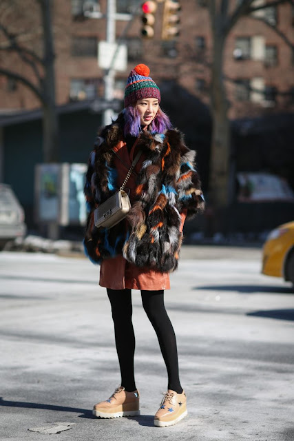 colourful patched faux fur coat
