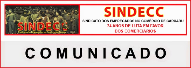 O SINDECC INFORMA: Comunicados para os feriados de abril.