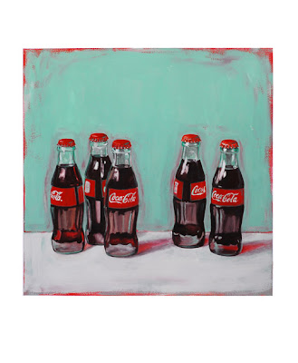 painting of five coke a cola bottles
